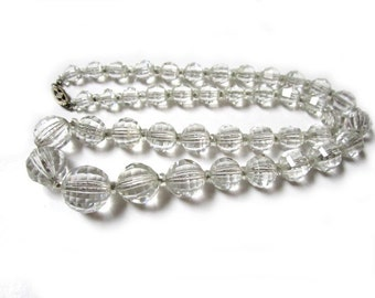 Faceted Crystal Necklace Vintage 14K White Gold Filled Clasp