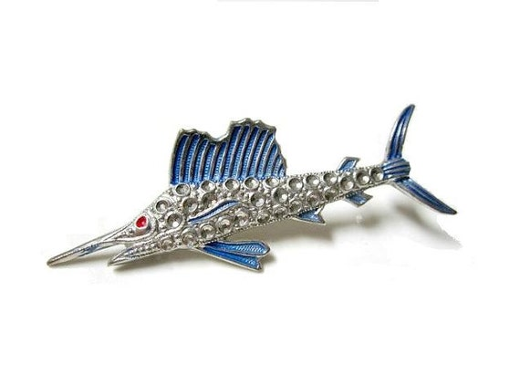 Vintage Adorable Enameled Brooch Pin C Clasp Marlin Fish