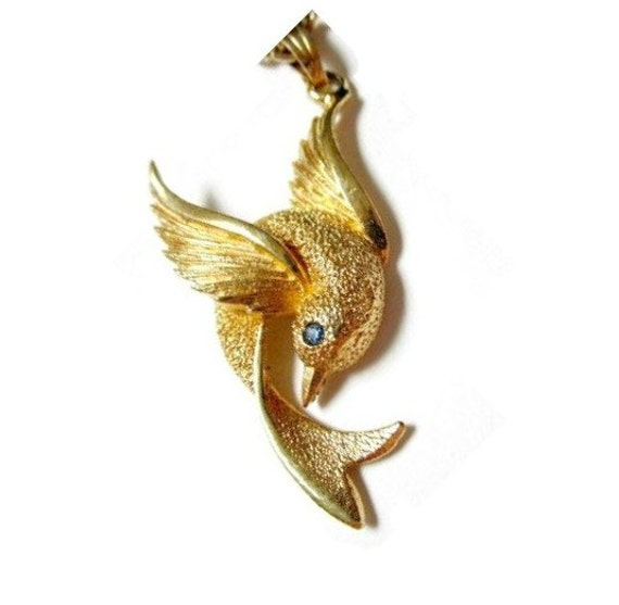 Vintage SARAH Coventry Hummingbird Pendant on EMMONS Chain both signed