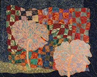 Handmade Art Quilt - Ghost Trees