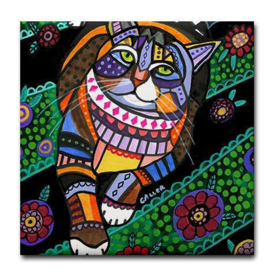 Cat Folk art Tile Ceramic Coaster Mexican Folk Art Print of painting by Heather Galler
