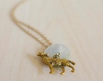 Wolf and Pearl Moon Necklace