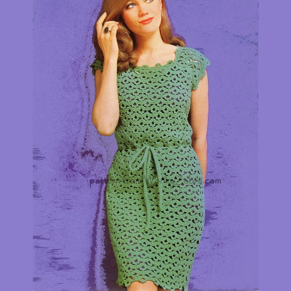 Vintage Crochet Sheath Dress Pattern PDF 411 from WonkyZebra