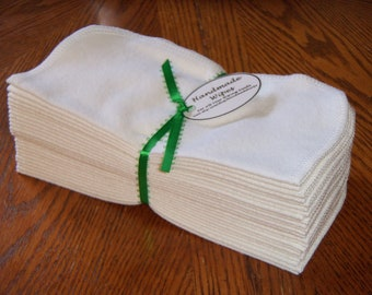 48 Cloth Baby Wipes, Reusable Cloth Wipes, White Flannel Cloth Baby Wipes, Wash Cloths, Napkins, Set of 48