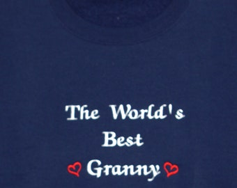 Granny Sweatshirt, Custom Grandparent Gift, Grammy, Grannie, Auntie, Personalize With Two Kids Names, No Shipping Fee, Ships TODAY, AGFT 626
