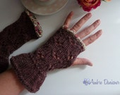 Deep Purple Tweed Fingerless Gloves Miss Marple
