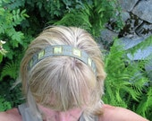 Reversible Headband Recycled Military Green Fabric Headband 22 inches