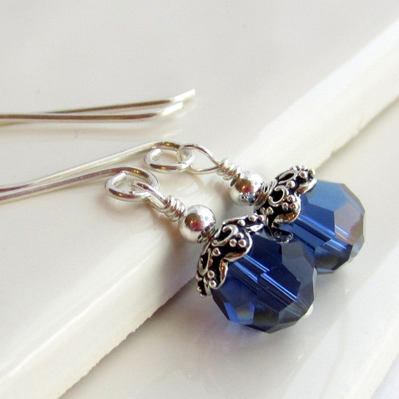 Reserved: Sapphire Blue and Sterling Silver Earrings. Navy Earrings. Wire Wrapped Sterling Silver Jewelry