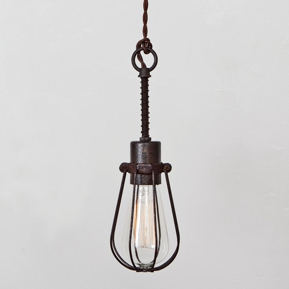 oval bulb cage light pendant light industrial by fleamarketrx