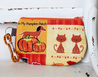 Pet Mess Clean Up Bag /  Dachshund and Pumkins Fabric / Pet Leash Purse / Round Bottom