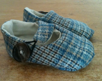Last Pair, Ready to Ship - Baby Boy Shoes, Toddler Boy Shoes, Blue Plaid Wool Loafers, Soft Sole Baby Booties