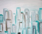 light teal abstract cityscape original painting contemporary urban rustic cottage chic folk art