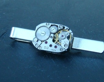 Tie Bar with rare Russian Made Watch Movement ideal gift for a steampunk lover