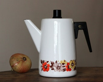 Beautiful vintage enamel coffee pot from Soviet Union times