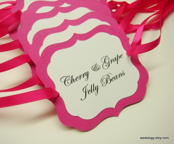 Buffet Tags for Your Wedding Reception, Bridal Shower or Party Prepared with your Custom Wording in all of my Card Stock Colors