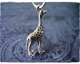 Tall Giraffe Necklace - Sterling Silver Giraffe Charm on a Delicate 18 Inch Sterling Silver Cable Chain