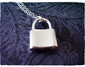 Movable Silver Padlock Necklace - Sterling Silver Padlock Charm on a Delicate 18 Inch Sterling Silver Cable Chain