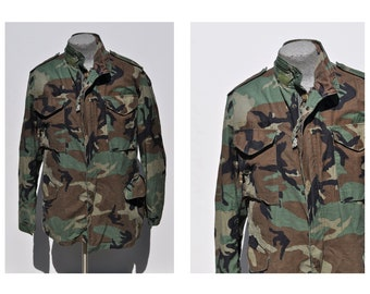M65 vintage military army field jacket coat medium long camouflage camo