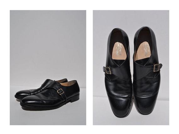 SALVATORE FERRAGAMO vintage leather OXFORDS shoes mens size 13 D buckle shoes