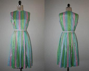 Vintage 1960s / Pastel Vintage Party Dress / Vintage Day Dress / Size small-medium