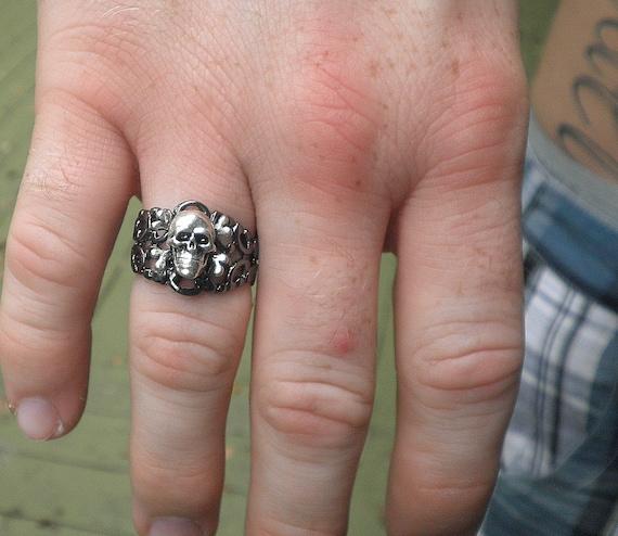 Heavy Gunmetal, Silver Skull and Bones Ring,Steampunk Ring,Edwardian Fantasy,Steam Punk Goth,Gothic Ring,Mens Ring,Mens Gifts,Gothic Jewelry