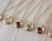 Bridesmaid jewelry, Set of 6,  Gold Circle Initial necklace, Custom Birthstone Necklace, Personalized gift, custom initial