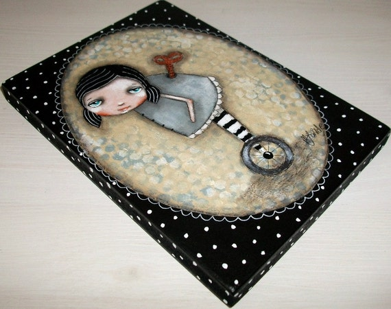 folk art clockwork girl whimsical original steampunk painting Mixed media painting on wood - Outside the box