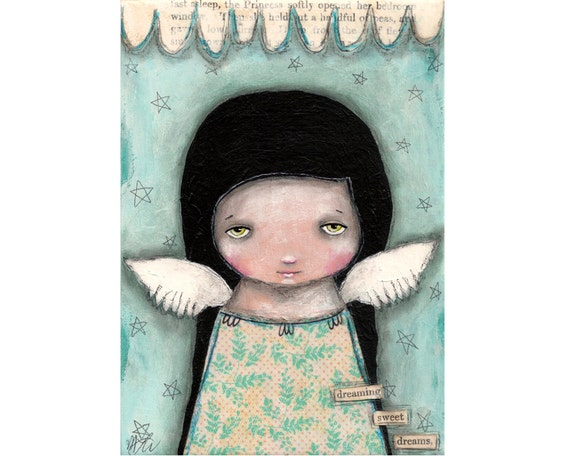 SALE - folk art painting Christmas whimsical angel painting original painting Mixed media painting on wood - Dreaming Sweet Dreams