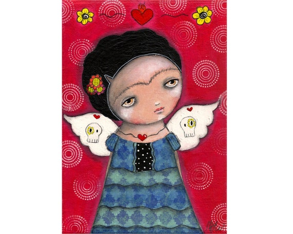 whimsical painting folk art frida painting whimsical art painting mixed media original painting 5x7 inch canvas board - Frida's wings