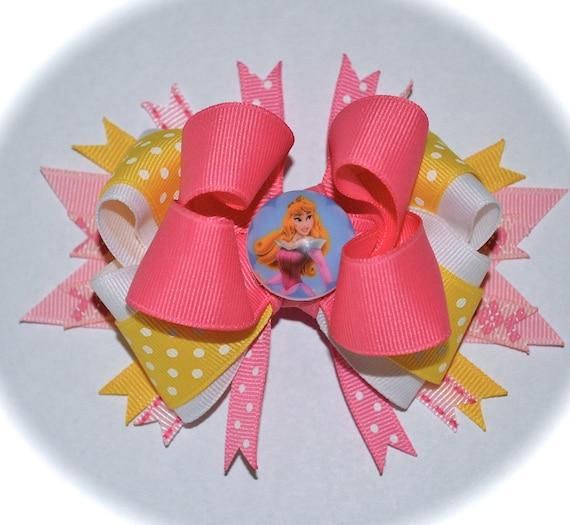 Custom Boutique Toddler Girls Disney Vacation Princess SLEEPING BEAUTY Aurora Pink Yellow Layered Hair Bow Clip Birthday Party