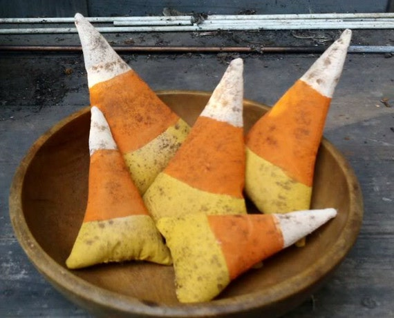 Primitive  Halloween Candy Corn Ornies-Tucks-Set Of 5