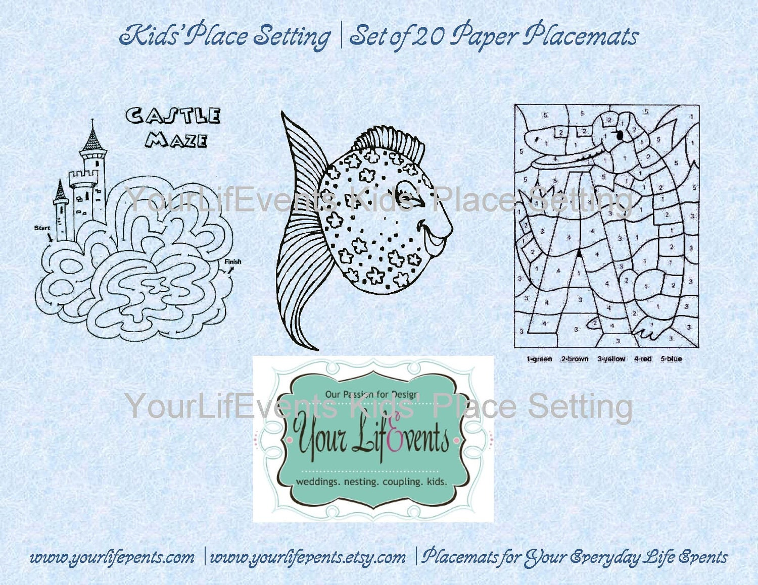 Kids 39 printable disposable placemats instant download for Table mats design your own