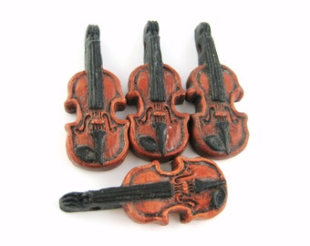 1pcs Clay Violin Beads - Painted Violin Charms - Music Pendant Music Beads - DIY Music Lover Gift For Her - Miniature Viola Fiddle H41