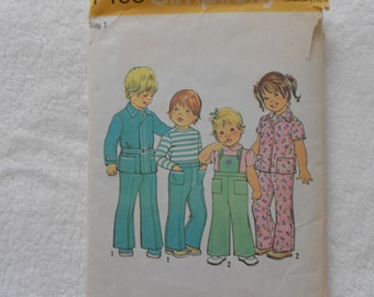 1970s toddlers jacket / pants with detachable bib/ pattern simplicity 7408 size 1