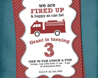 Fired Up. Little Red Firetruck Baby Shower or Birthday Party Invite by Tipsy Graphics. Any colors