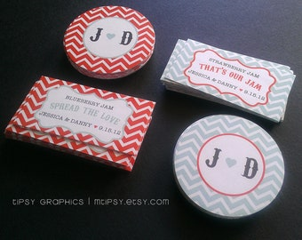 Chevron. Spread the Love. Jam Label & Matching Monogram Design Printable file, option to print. Wedding Favor. Any colors by Tipsy Graphics