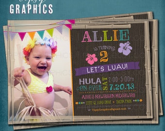 Hula on Over.  Fun Photo Hawaiian Luau Birthday Party Invitation by Tipsy Graphics