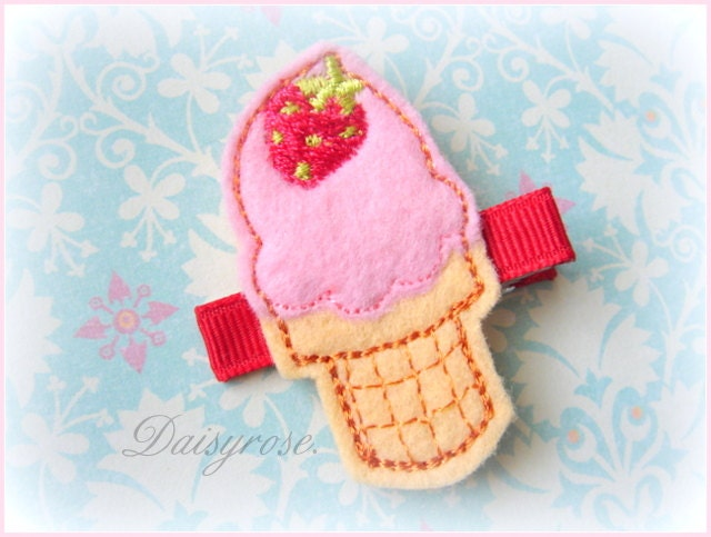 STRAWBERRY ICE CREAM scoop felt hair clip for baby, infant, children, teen ...