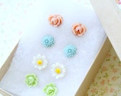 Pastel Flower Post Earrings GIFT SET Specially priced