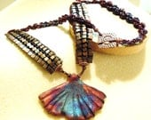 Gingko Raku Necklace PUBLISHED in Bead and Button herringbone spiral