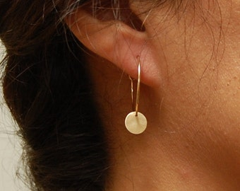 Small 14K Gold Hoop and Disc Earrings