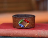 Leather Bracelet, Brown with Multi Color Glass Beads