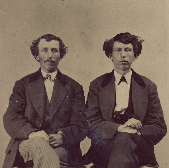 CURLY HAIRED BROTHERS Sitting Stoicly Next To Each Other Tintype Photo Circa 1880s