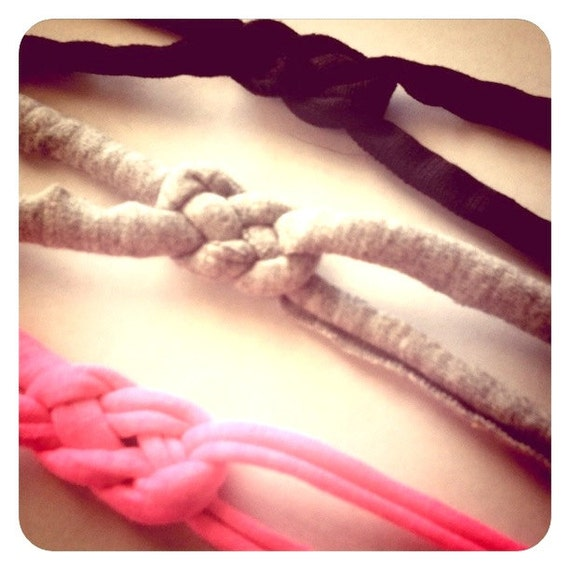 Super Sweet Mini Sailor Knot Knotted Headband Set of 3 Black Grey Hot Pink Neon Tiny Thin Layer Stretch Headbands Free Shipping