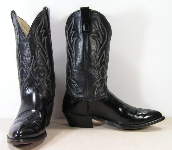 black cowboy boots mens 9.5 EE wide western vintage leather sheplers glossy black
