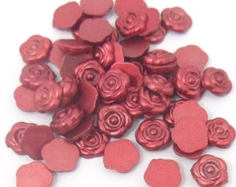 200 pcs. red flowers cabochons , 8mm