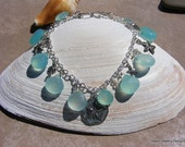 Aqua Chalcedony Charm Bracelet.