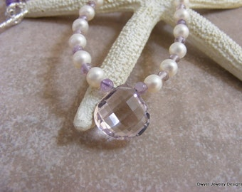 Lilac Amethyst Wedding Necklace with Fresh Water White Pearls.