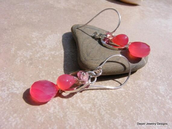 Pink Lemonade Chalcedony Earrings with Pink Tourmaline.
