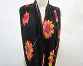 Infinity Flower Print Scarf,Loop Scarf,Combed,Circle scarf,Cowl